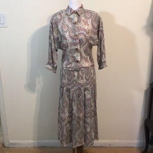 Vintage Leslie Fay Paisley Cotton Dress- Sz 6